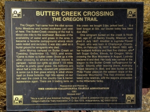 Sign about the Oregon Trail's Butter Creek Crossing along Highway 207