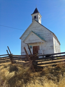Old historic church in Fox, Oregon along highway 395