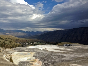 Overlooking the Town of Mammoth Hot Springs from a Lower Terrace Loop overlook