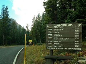 Campground status sign at the Northeast Entrance to Yellowstone