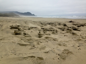 Sand sculptures on the beach at the Muriel Ponsen State Wayside along the Oregon Coast