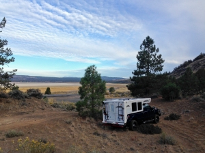 Our BLM campsite near dry Eagle Lake north of Susanville, CA