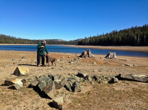 Tony and Toller enjoying the shores of Meadow Lake, a reservoir in Tahoe National Forest
