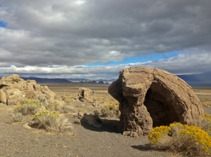Tufa forms in the foreground; The Needles Rocks in the distance. Pyramid lake is barely visible as a thin line in between